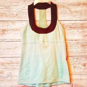 Lululemon Tank Top Turquoise Blue and Black Neck